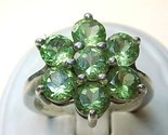 Vintage Genuine PERIDOT Flower  RING in STERLING SILVER - Size 7 - FREE SHIPPING