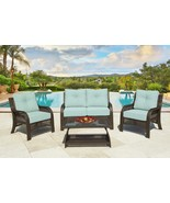 Northcape 4-Piece Cappuccino Wicker Patio Loveseat Chairs Table Furnitur... - $1,290.70