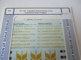 Microscale Decals Stock #87-718 Canadian Wheat Board 4-Bay Cylindrical Hopper HO image 1