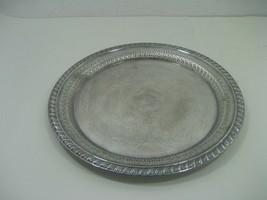 Vintage Leonard Silver Plated Round Etched Serving Platter Intricate Details - $13.06