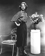 Virginia Mayo Smiling Hands On Hips Pose By Flower Stand 16X20 Canvas Gi... - $69.99