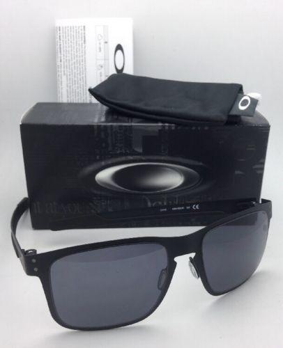 ed613e3d61227 New Oakley Sunglasses HOLBROOK METAL OO4123-01 Matte Black Frames w  Grey  Lenses