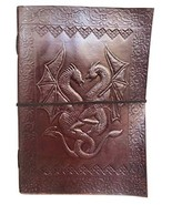 Handmade Vintage Leather Double Dragon Bound Journal Notebook Diary Sket... - $27.96