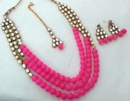 Indian Bollywood Fuchsia Gold Plated Kundan Fashion Bridal Jewelry Necklace Set2 - $22.79