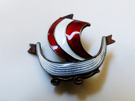 VTG Norway Sterling Silver 925 Gold Vermail White Red Enamel Viking Sail... - $59.40