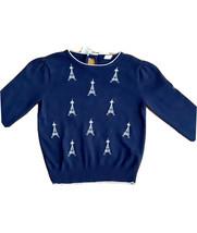 Janie And Jack Girls Sweater Eifel Tower, Navy. Blue, Size 6, - $19.80