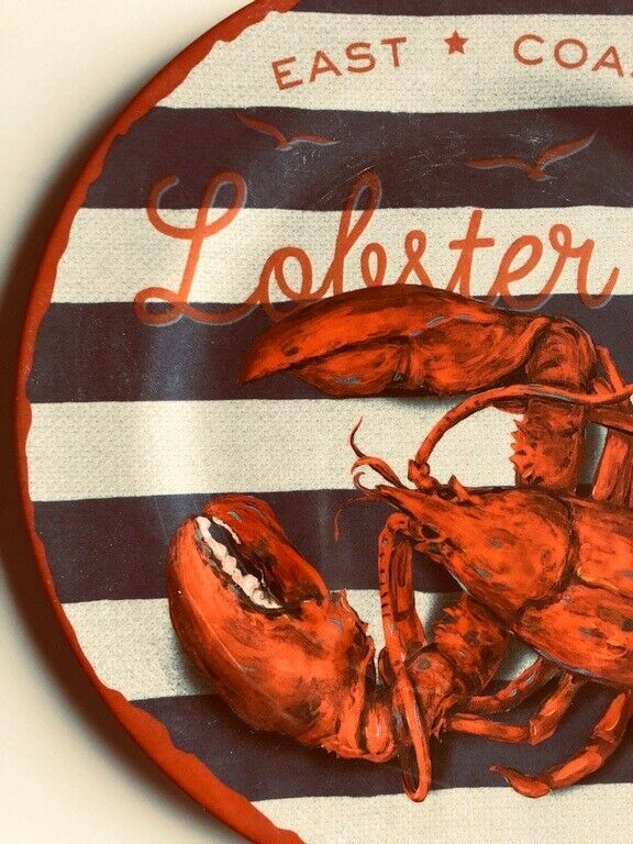 "East Coast Lobster Set of 4 Melamine Plates 10.25"" Dinner Plates NEW Beach House"