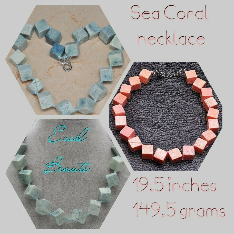 Primary image for 20 MM SQUARE SEA CORAL NECKLACE BLUE OR PINK