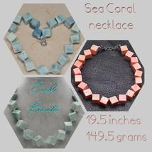 20 MM SQUARE SEA CORAL NECKLACE BLUE OR PINK - $44.55