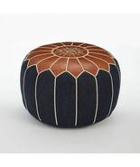 Moroccan Denim & Leather Pouf Ottoman Handmade Moroccan Pouf Pouffe Foot... - $98.01