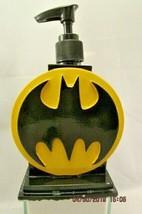Pump Soap Dispenser Bottle Hard Plastic Batman Symbol Black Yellow - $17.65