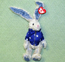 "TY ATTIC TREASURES 12"" WASHINGTON BUNNY IVORY BLUE RABBIT WIRED EARS JOI... - $9.50"