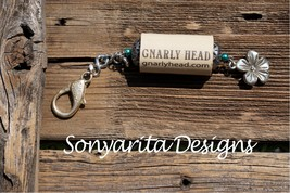 Handmade Wine Cork Keychain Metal Flower Charm By Sonyarita Designs - $8.49