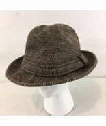Country Gentleman Mens L Brown Vtg USA Made Herringbone Tweed Wool Fedor... - $38.61
