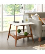 Parker Wood Mid Century Style End Table w White Top & Center Shelf - $158.00