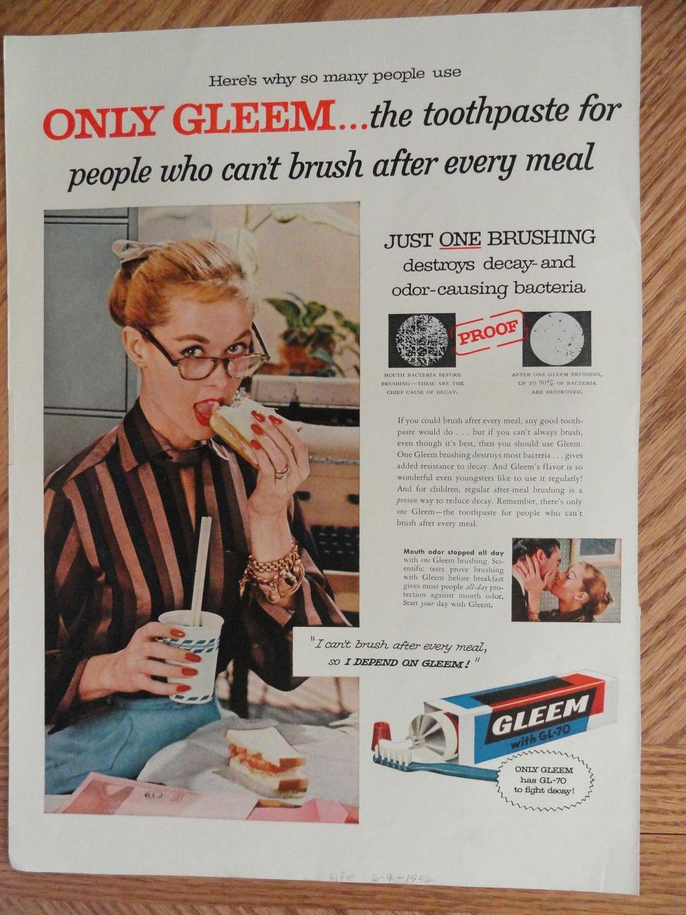 Gleem Toothpaste with GL-70 1956 magazine print Ad, 10x14 Bonanza