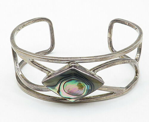 925 Sterling Silver - Vintage Abalone Shell Open Design Cuff Bracelet - B4743