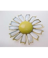 Vintage WEISS Yellow Enamel Daisy FLOWER BROOCH Pin - 2 1/8 inches long - $35.00