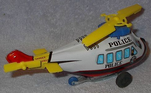 Vintage Tin and Plastic Wind Up Toy Helicopter Korea