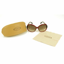Tod's TO 30 69F Burgundy red Round Frame Womens Oversized Gradient Sung... - $123.75