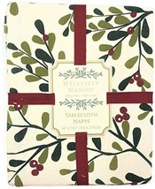 """Wellesley Manor Christmas Mistletoe and Berries Holiday Tablecloth 60"""" X... - $60.96"""