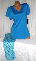 Plus Size Stretch V Neck Pajama Set 1X 2X 3X Blue Super Soft - $28.99
