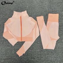 Women's New Crop Tops Leggings Seamless Sportswear High Waist Yoga Suit image 5