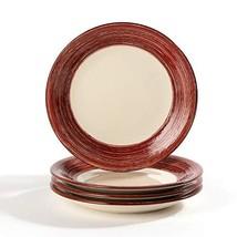 CeramicHome Dessert Salad Plate Set of 4 7-Inch, 4-Piece, Stoneware Red ... - $29.88