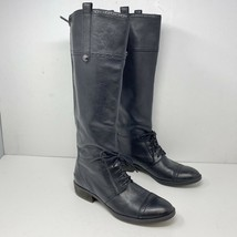 SAM EDELMAN Perron BLACK Brogue 7.5 M Oxford LEATHER Knee Boots Flats - $66.49