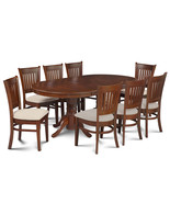 """9 PC  OVAL DINETTE KITCHEN DINING ROOM SET 42""""x78"""" TABLE & 8 PADDED SEAT... - $865.53"""