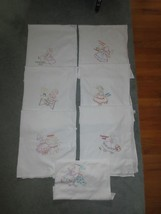 "7 HAND EMBROIDERED Dutch Girl Embroidered CHORE TOWELS w/Loops - 28"" x 3... - $14.95"