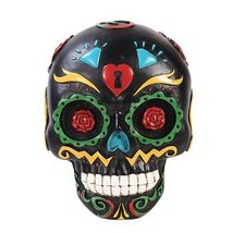 Pacific Giftware Black Day of The Dead Skull Wall Plaque Figurine Made o... - £20.18 GBP
