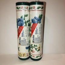 Wallpaper Border Mauve Blue Flowers Green Trim Sanitas Vinyl  776B2105 - $11.64