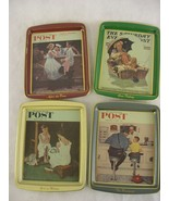 Set of 4 Collectors Series Saturday Evening Post Norman Rockwell Trays  - $29.69