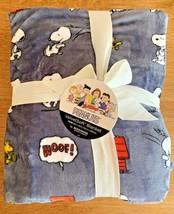 "Berkshire Velvet Soft Peanuts Snoopy Woodstock Throw Blanket 60"" X 90"" Gray New - $59.95"
