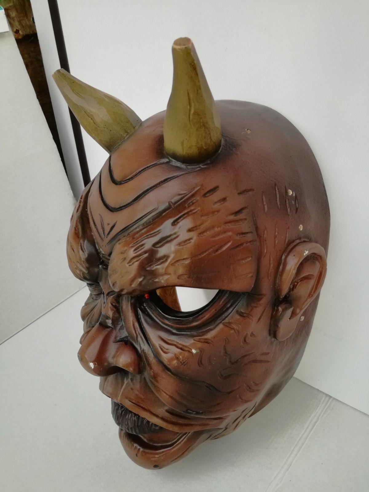 Antique Nikolaus Krampus wood handcarved BLACK FOREST Devil Mask Gothic oddities image 7