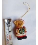 Tiny Christmas Teddy Bear with boxed gift Christmas Xmas tree holiday Or... - $14.11