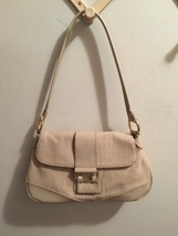 "Oatmeal Beige Cream Linen & Rayon 12X7X4"" Hand Bag Etienne Aigner Purse - $19.99"