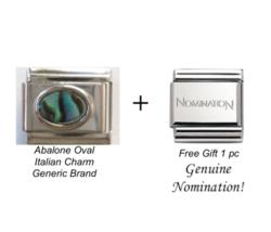 Oval Abalone Italian Charm fits Classic 9mm Size Modular link Bracelet - $5.79