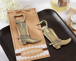 Just Hitched Cowboy Boot Bottle Opener Western Birthday Bridal Wedding F... - $90.20+