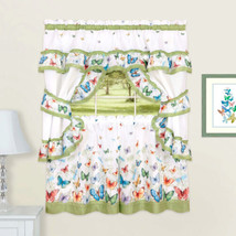 "Butterflies Printed Kitchen Curtain Cottage Set Swag Tiers & Tiebacks 24"" Green - $17.39"