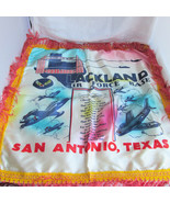 Vintage Lackland Air Force Base Sweetheart Fringed Satin Souvenir Pillow... - $26.99