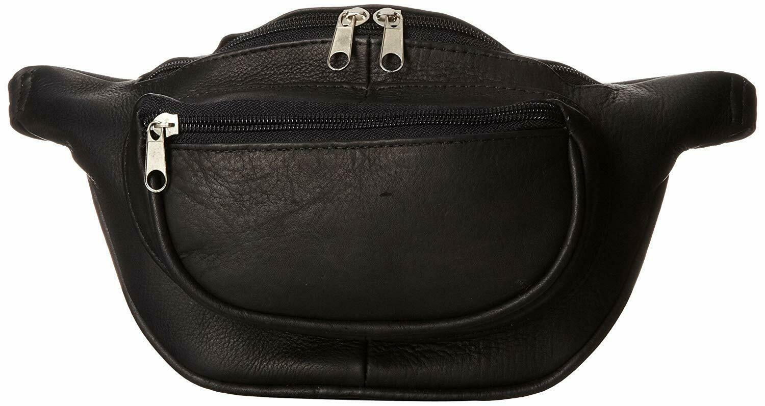 DAVID KING COLOMBIAN LEATHER WAIST FANNY PACK BLACK - $39.55