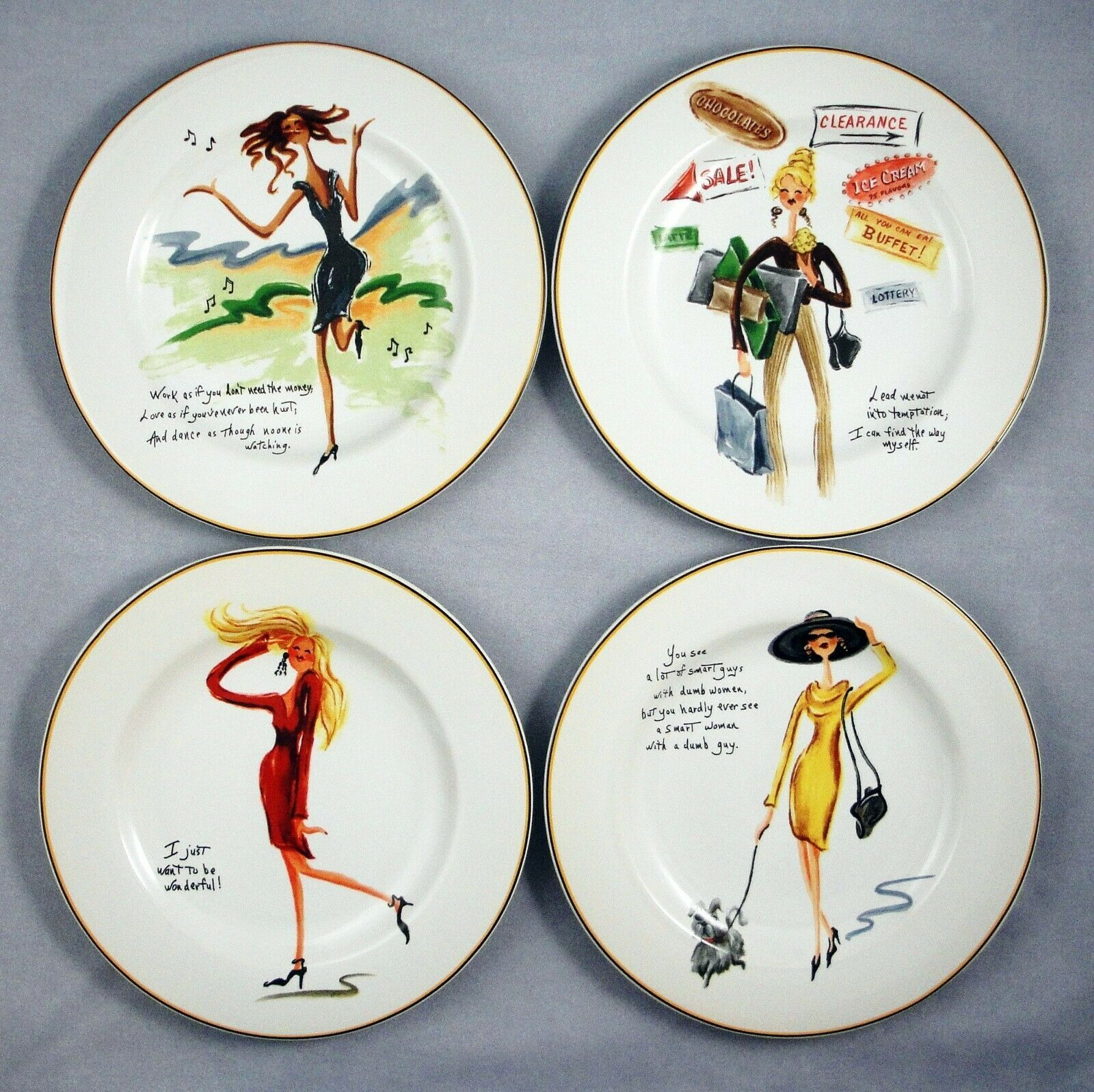 Primary image for Sakura Glamour Girls Dessert Salad Luncheon Plates Sassy Humor Quotes Set of 4