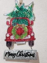 "Christmas Red Truck Farmhouse Christmas Trees Metal Wall Sign Decor 18"" - $29.99"