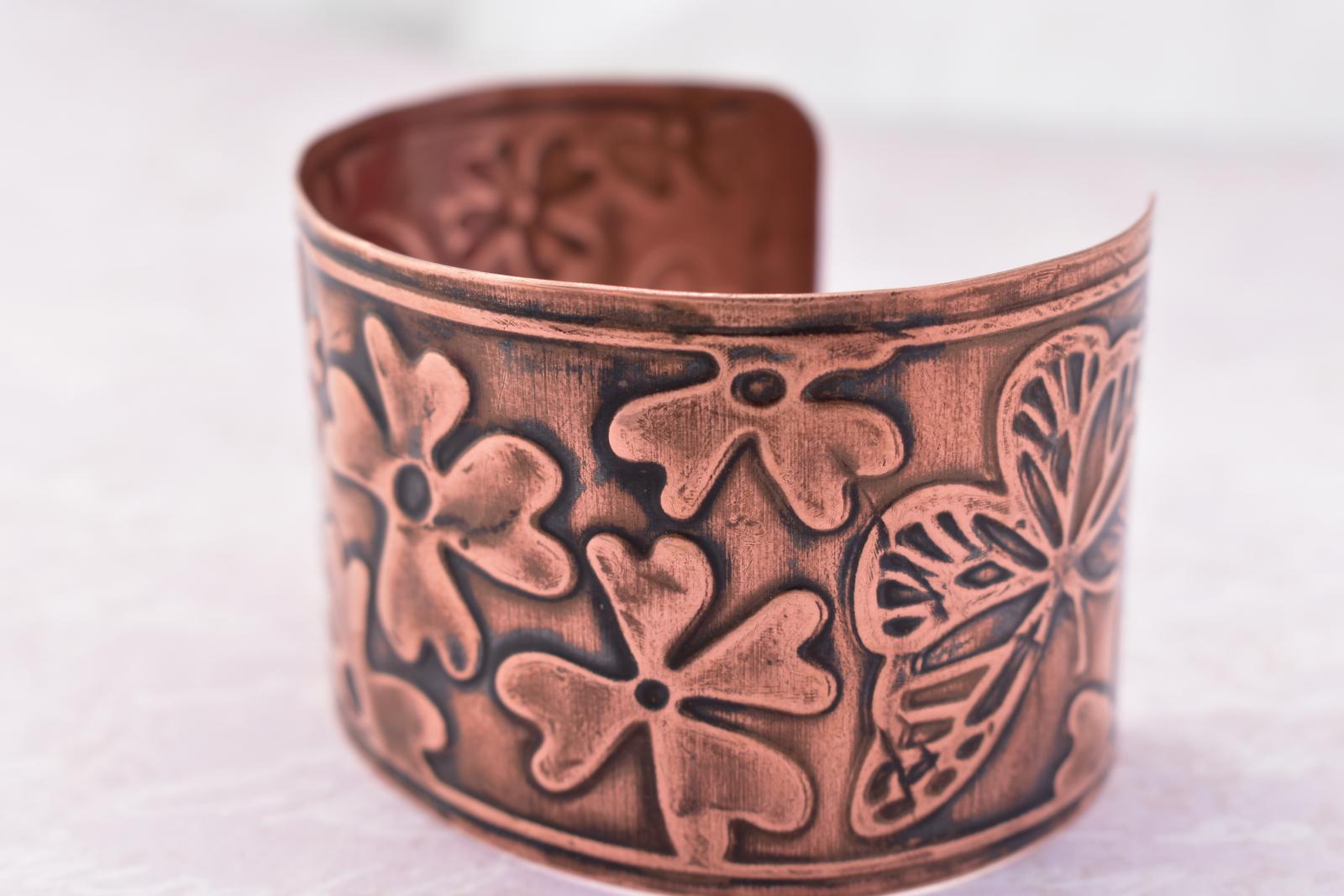 Copper embossed cuff bracelet