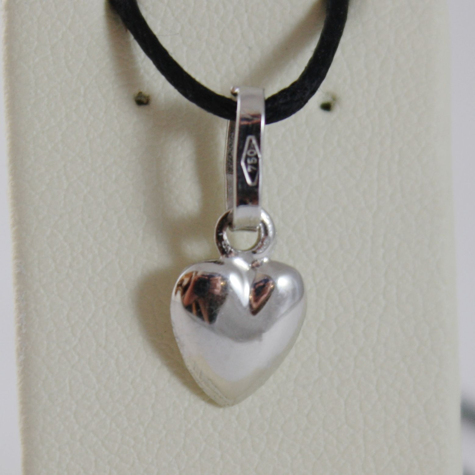 18K WHITE GOLD MINI ROUNDED HEART PENDANT CHARM, 11 MM, 0.43 INCH MADE IN ITALY