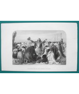 PILGRIMS Embarking on Journey to America - 1856 Engraving Print - $8.96