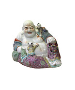 Chinese Porcelain Color Reclining Happy Buddha w Kids Statue cs4210 - $485.00