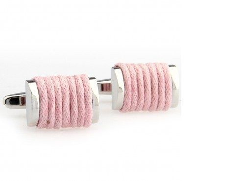 Frederick Thomas pale light blush pink wool wrapped cufflinks FT2827